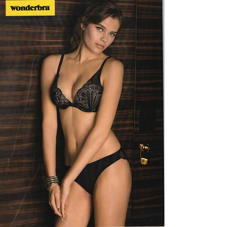 Wonderbra triangle black plunge bra